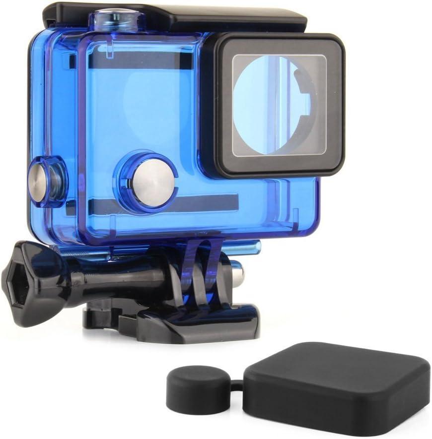 SOONSUN Protective Waterproof Dive Housing Case for GoPro Hero 4, Hero 3+, Hero 3 Black Silver Camera - Underwater 40 Meters (131 Feet) - Transparent Blue