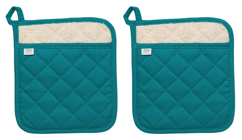 Now Designs Superior Potholder, Set of Two, Peacock Green
