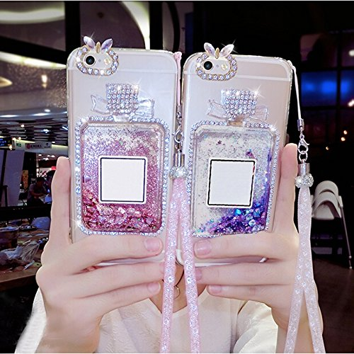 - Glitter Love Quicksand Clear TPU Phone Case for Iphone 5s 6S Luxury 3D Bling Rhinestone Diamond Perfume Bottle Shell for Samsung Galaxy Phones Pink iPhone 6S