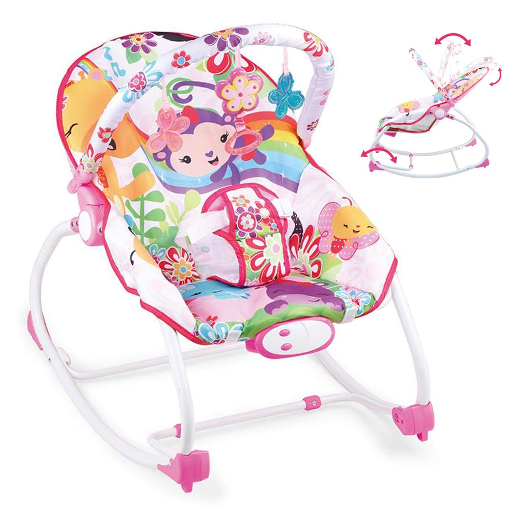 JFMBJS Rocker Chairs with Music Soothing Vibration for Newborn, Baby Bouncer with Removable Toy Bars for 0-3 Year Old by JFMBJS