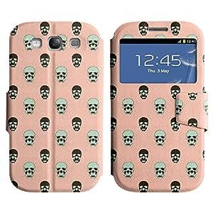 LEOCASE Pink Skull Funda Carcasa Cuero Tapa Case Para Samsung Galaxy S3 I9300 No.1002005