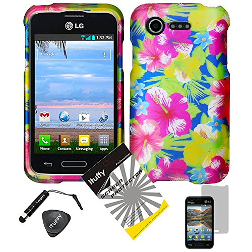 4 items Combo: ITUFFY (TM) LCD Screen Protector Film + Mini Stylus Pen + Case Opener + Blue Pink Yellow Green Hawaiian Hibiscus Flower Design Rubberized Snap on Hard Shell Cover Faceplate Skin Phone Case for Verizon LG Optimus Zone2 VS415PP / LG Optimus Fuel L34C (Aloha Flower) ()