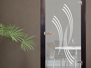 Glasdekor Glastür Aufkleber Fensterfolie Für Wohnzimmer Streifen Retro  (131x50cm)