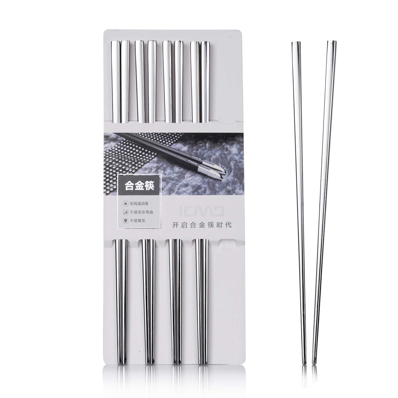 1 Paar Bunte Essstäbchen Metall Chinesischen Edelstahl Wiederverwendbare Große