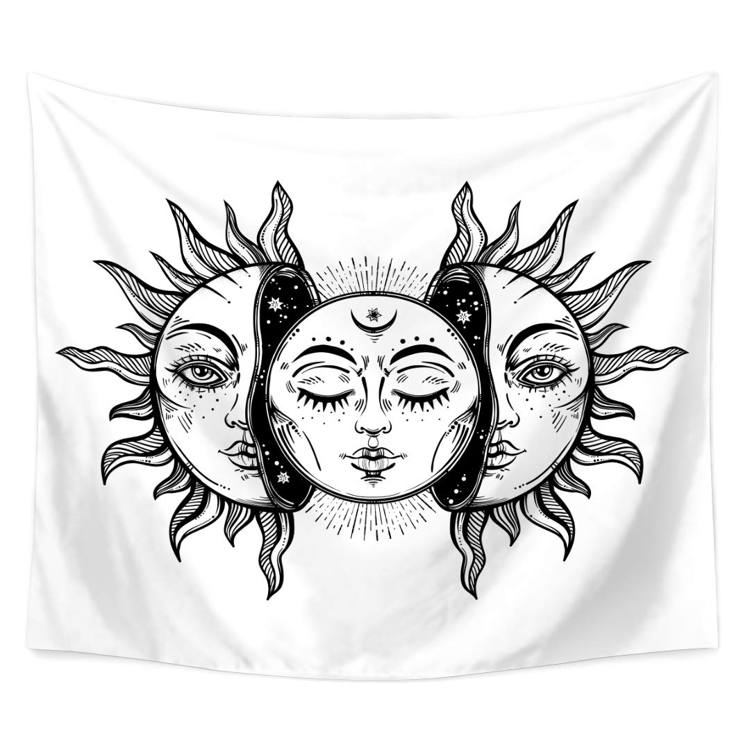 QEES Psychedelic Moon Sun Tapestry Bohemian Hippie Indian Moon and Sun with  Many Fractal Faces Wall Hanging Art for Home Decor Bedroom Living Room