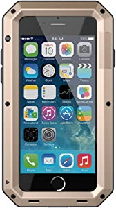 iPhone SE 2020 Case,Gorilla Glass Luxury Aluminum Alloy Protective Metal Extreme Shockproof Military Bumper Heavy Duty Cover Shell Case Skin Protector for Apple iPhone SE 2020/8/7 4.7inch -Gold