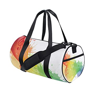 2645cd7628 ISAOA Duffel Bag Rainbow Musical Notes Foldable Gym Bag Foldable Barrel Gym  Bag Sports