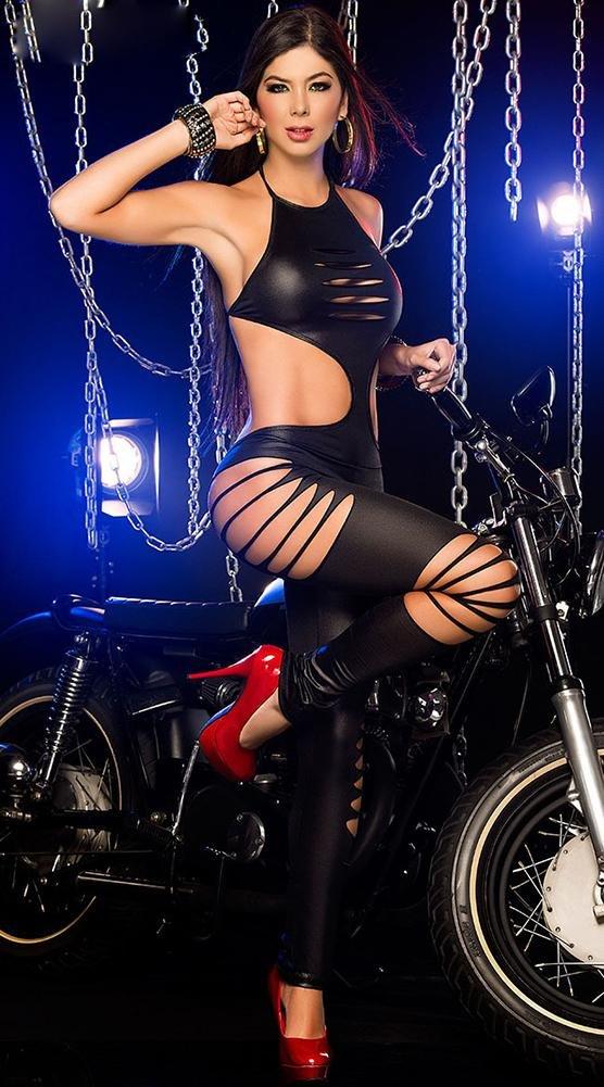 NEIYI Traje de lencería de para Cuero para de Mujer Sexy Catwoman Latex Catsuit de PVC Body Mono Siamés Clubwear, Red e94f1c