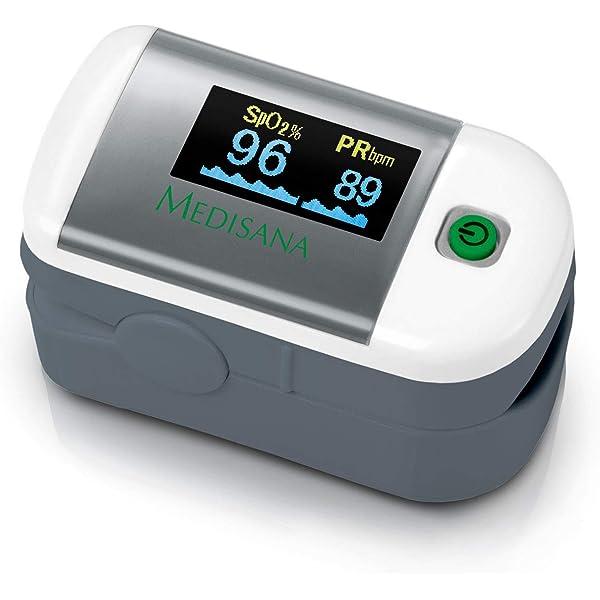 Medisana PM 100 Oxímetro de pulso, medición de la saturación de oxígeno en sangre, oxímetro de pulso de dedo con pantalla OLED y operación con una sola pulsación: Amazon.es: Salud y cuidado