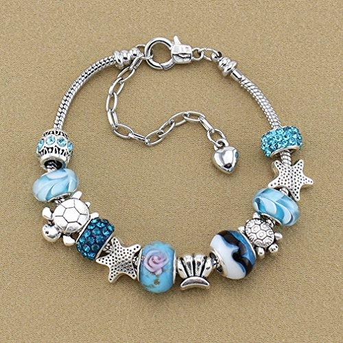 Dolland Silver Tone Blue Glass Beads Snake Chain Starfish Sea Shell Charm Bracelet for Women and Teen Girls (Small Snake Bracelet)