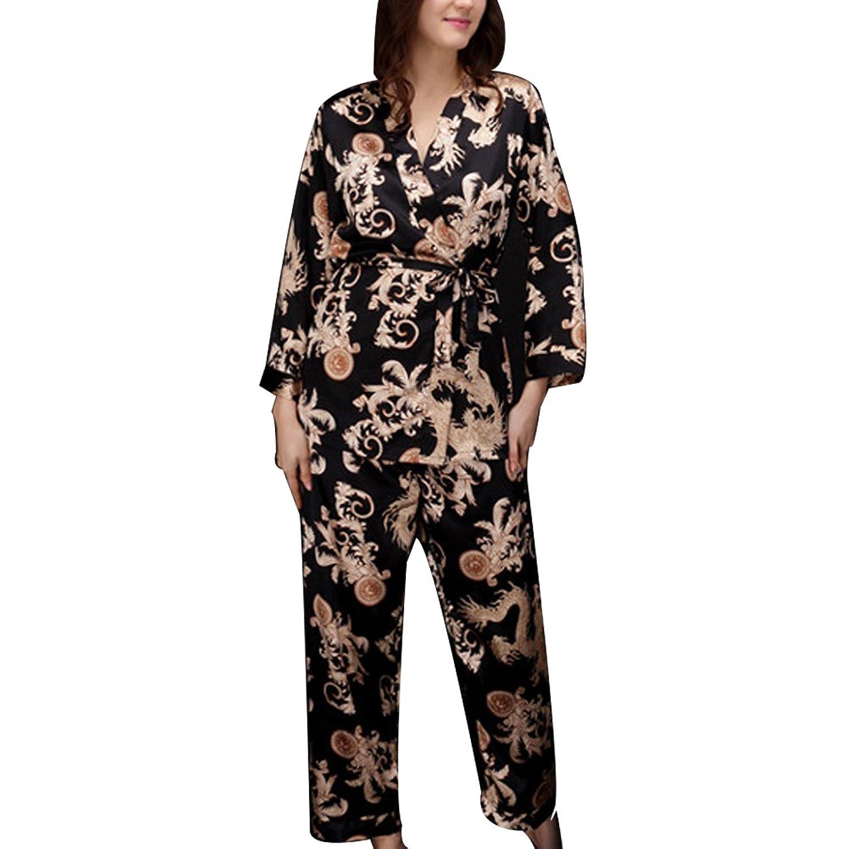 Zhhyizhi Neutral Sleepwear Nightwear Satin Robe Lingerie Womens Mens Dressing Gown Kimono TZ013