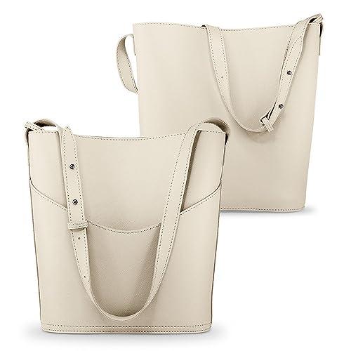 e24f73394b Amazon.com  Oct17 Women Faux Leather Bucket Tote Shoulder Bag Fashion  Ladies Handbag Purse with Small Bag - Beige  Shoes