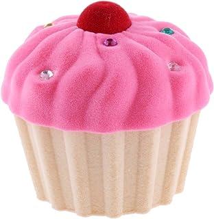 Lovely Cake Cupcake Design Velvet Ring Box Earring Necklace Jewelry Storage