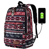 Vbiger Men Women Laptop Backpack Multi-functional School Shoulders Bag Stylish Travel Backpacks Casual Outdoor Daypack with Lobster Clasp and USB Charging Function Fits 16'' Laptop