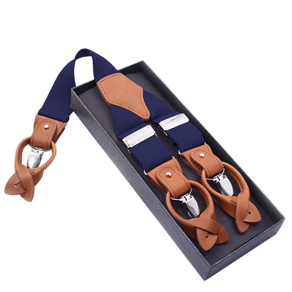 Westeng 1Pcs Bretelles homme 6 clips Vintage Pantalons Bretelles en Forme de Y Bretelle réglable et élastique