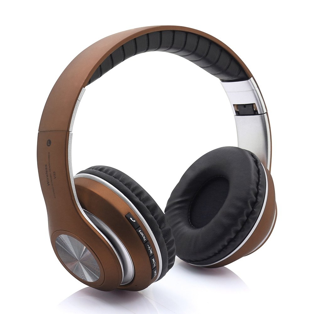 Auriculares Over-ear Mic Bluetooth Inalambrico Headset 4.2 Hifi Stereo Deep Bass Earphone Con 24h Duracion Plegable & Li