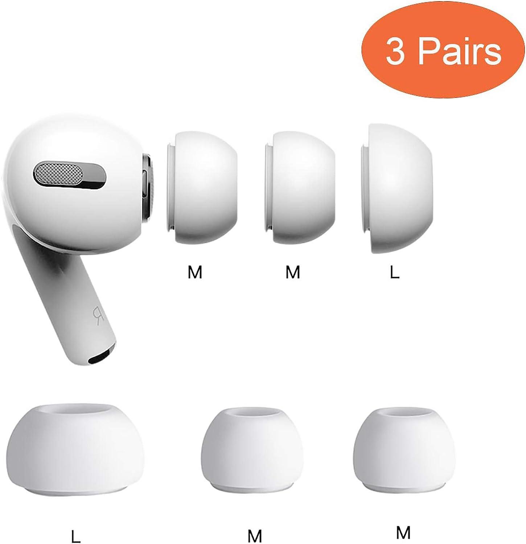 sciuU Silikon Ohrpolster Kompatibel mit Apple Airpods Pro, 3 Paare 2 * Mittel Silikon Soft Ohrh/örer Pads Ohrpolster Ohrst/öpsel Cover Ohrh/örertips Ersatz Ohrh/örer Earbuds H/ülle Wei/ß 1 * Gro/ß
