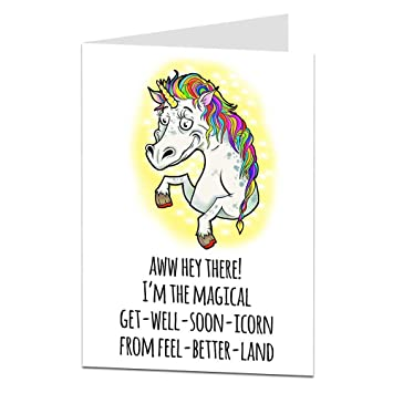 Get Well Soon Card Funny Unicorn Design For Women Or Girls Amazon