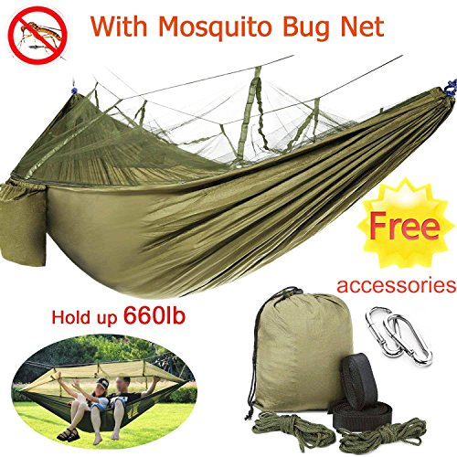 BSWEEII Double Camping Hammock with Mosquito Bug Net Zippers Outdoor 2 Person Hammock Tent Portable Backpack Hammocks for Kids Adults Lightweight Dry Quickly Nylon Parachute Hammock Tree Straps by BSWEEII