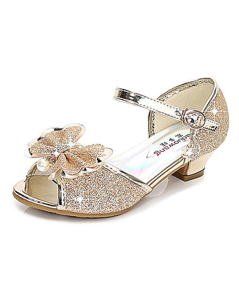 KISSOURBABY High Heels Sandals for Girls Size 1 Platform Performance Little Girl Wedding Princess Dress Shoes Sequins Crystal High (Gold 31)