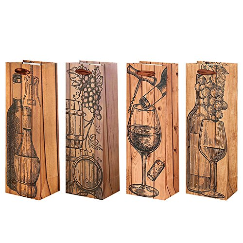 Bbsho 5PCS Superior Wood Grain Paper Wine Bags with Handles-Wine Gift Bags- Single Bottle Wine Alcohol Liquor Spirits Bag-Send by Random