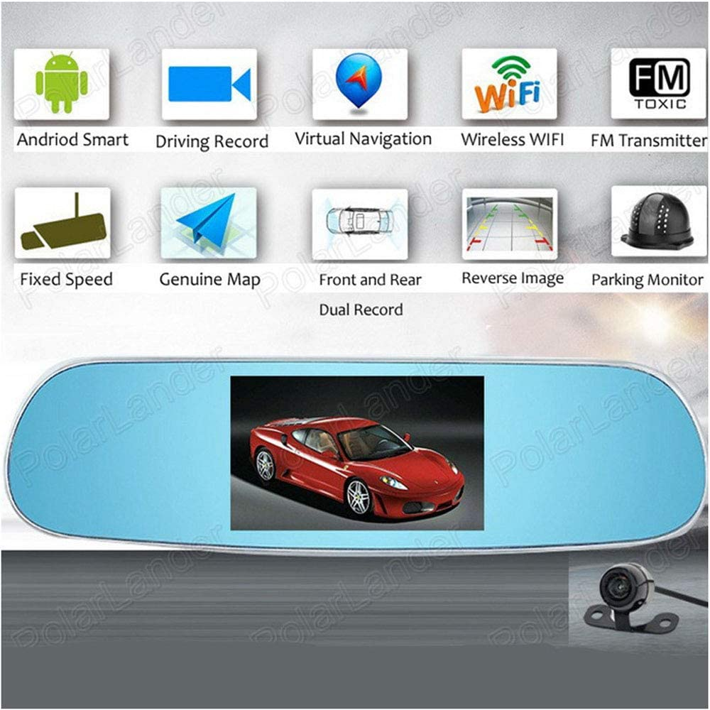 """1280P Dash Cam FHD Dashboard Camera Recorder Dual Lenses Mirror Driving Recorder with 170° Ultra-Wide Angle and 5"""" IPS Screen ADAS Function G-Sensor"""