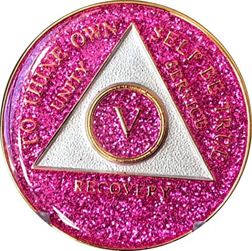 5 Year AA Medallion Glitter Pink Tri-Plate Chip V