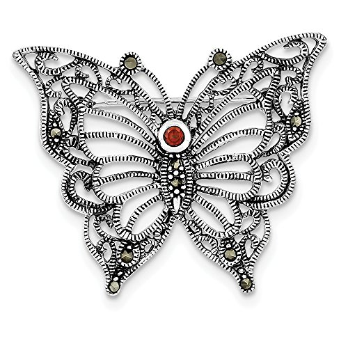 Sterling Silver Marcasite Red CZ Butterfly Pin (1.5 in x 1.69 - Butterfly Two Tone Brooch