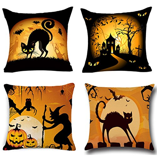 BPFY 4Pack Happy Halloween Pillow Covers 18 x 18 Inch Cotton Linen Black Cat Sofa Home Decor Throw Pillow Case Cushion Covers (Happy Halloween Black Cat)