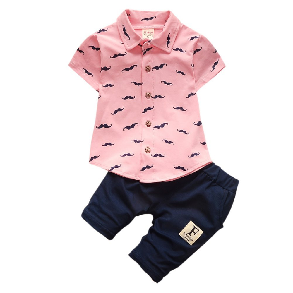 MiyaSudy Toddler Baby Boy Summer Outfits Beard Print Short Sleeve T-Shirts + Shorts 2Pcs Set