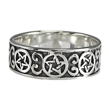 Silver Celtic Knot Wiccan Pentacle Ring Pentagram Band (Size 4-15)