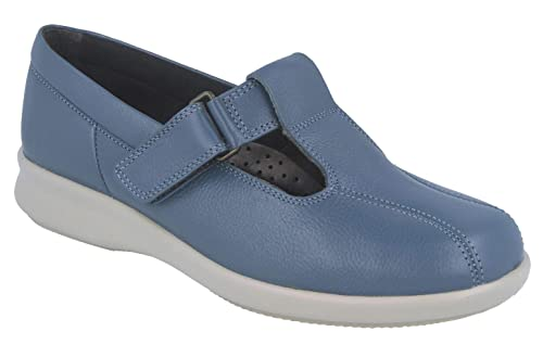 77f2626c71b8 Db Shoes Rowena - T Bar with Double Back Strap Wide Shoes - Denim Blue -