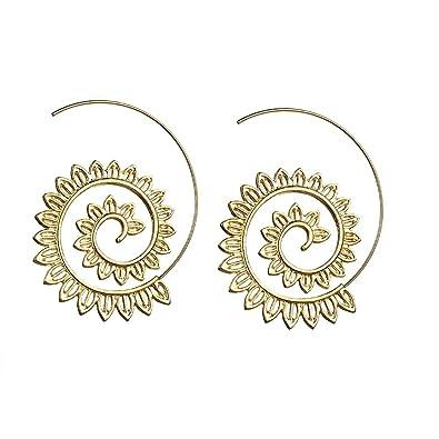 81ef29855 Gold exaggerated vintage bohemian spiral earrings circle round tribal hoop jewelry  Swirl hoop earrings for womens