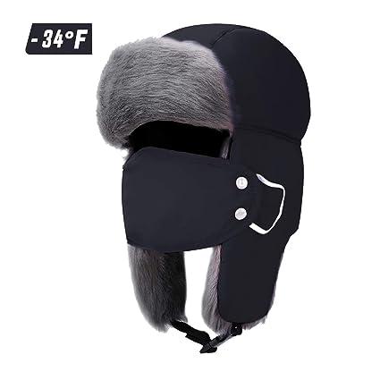 bedd8a6bbf7 Trapper Hats Hunting Winter Hat for Men Women Warm Trooper Aviator Ushanka  Faux Fur Hat Caps