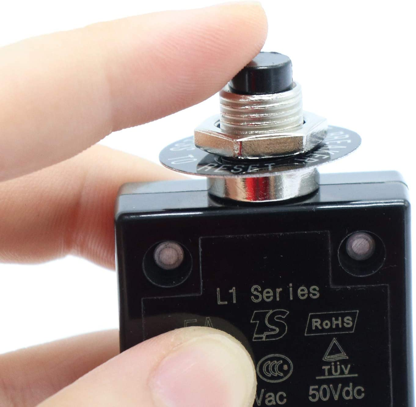 Semoic 1X 5A Circuit Breaker 12V//24V Push Button Resettable Thermal Circuit Breaker Panel Mount With Waterproof Cap