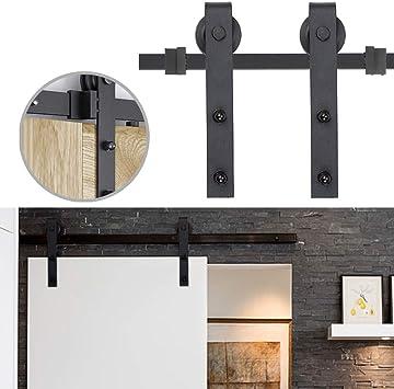 LZQ Herraje para Una Puerta Suspendidas de Madera Corredera Kit Accesorios Puerta Granero Corredera Piezas de Metal 6,6FT/200cm: Amazon.es: Bricolaje y herramientas