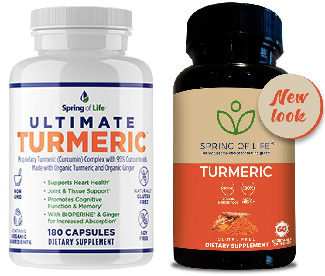 Spring of Life Ultimate Turmeric Curcumin with Bioperine 1500mg with 95 Curcuminoids Extra Strength Formula for Maximum Absorption, Joint Comfort Mobility Gluten Free – 60 Veggie Caps