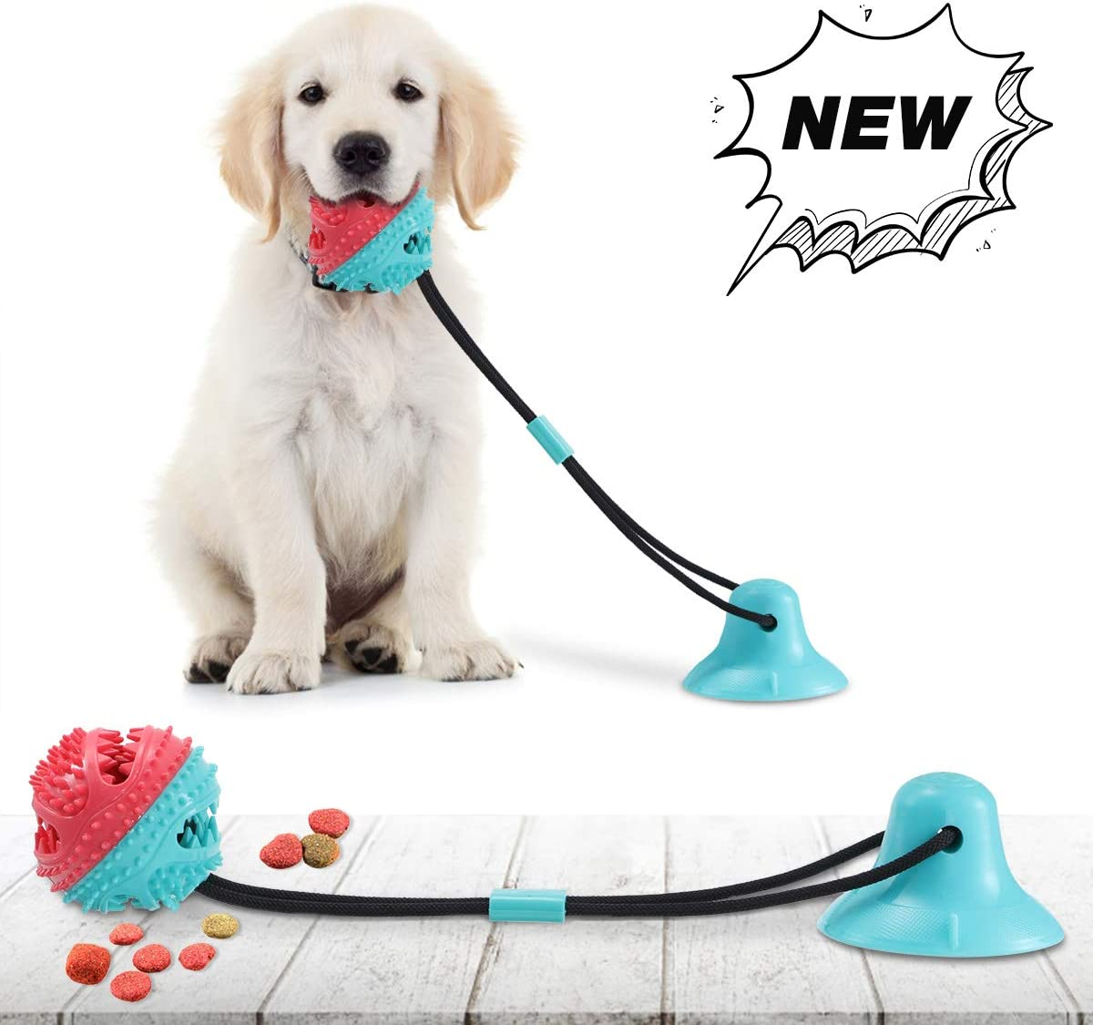 CAMTOA Dog Chew Toys for Aggressive Chewers, Suction Cup Dog Chewing Toy, Dog Rope Ball Toys with Suction Cup for Small Large Dogs, Puppy Dog Teeth