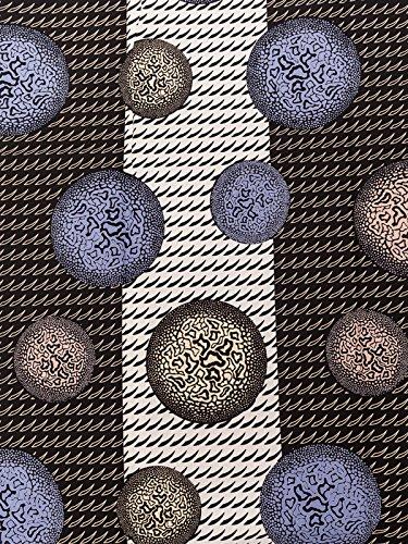 George Fabric Real Wax Black White Blue Ball Design rw170903