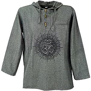 GURU-SHOP, Camicia Yoga, Goa Camicia Om, Felpa, Cotone, Camicie da Uomo