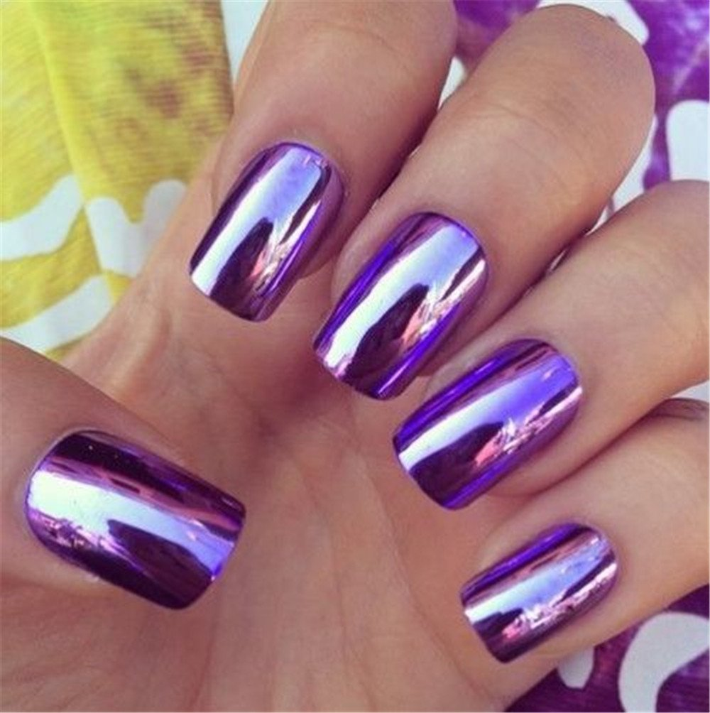 BloomingBoom 24 Pcs 12 Size Full Cover False Fake Nail Artificial Metallic Mirror Elegant Woman Girl Gift Party Chrome Stiletto Long Salon Design Natural Shining - Dark Purple Ltd