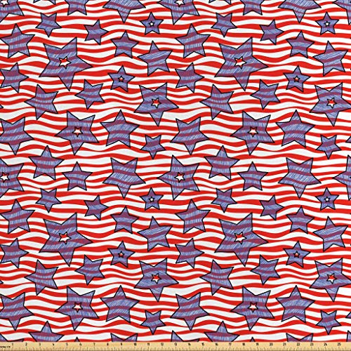Lunarable Striped Fabric by The Yard, Doodle Stars and Wavy Stripes American Flag Patriotic USA Pattern, Decorative Satin Fabric for Home Textiles and Crafts, 2 Yards, Navy Blue Vermilion White ()