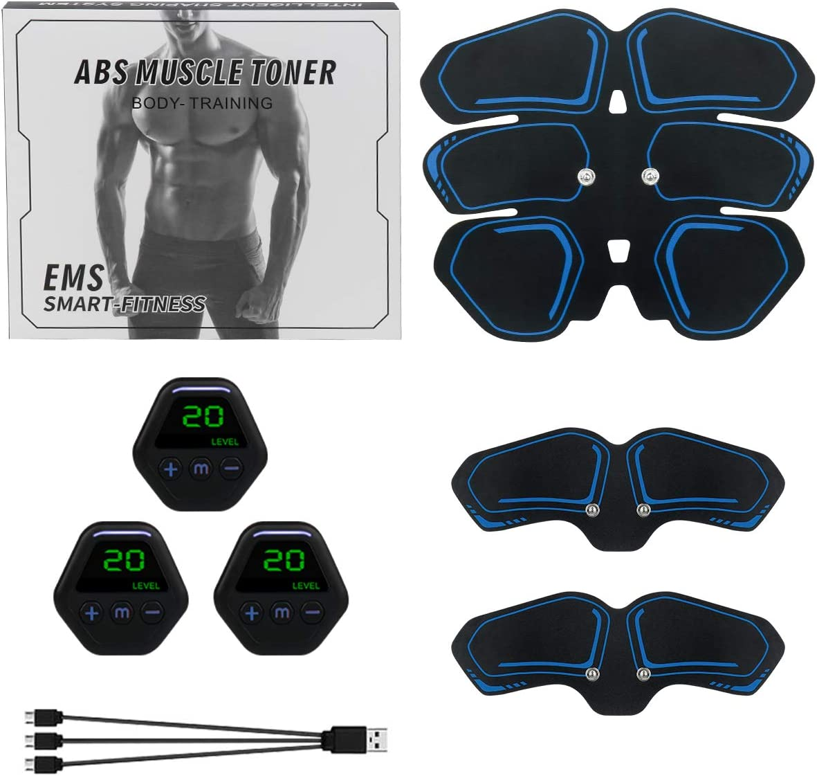 MEILYLA Muscle Toner Abdominal Toning Belt for Men Women ABS Trainer Portable Unisex Fitness Training Gear Home Office Exercise Blue : Sports & Outdoors