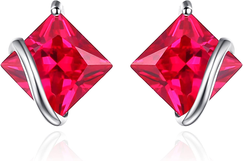JewelryPalace Pendientes Cuadrado Con Genuina Piedras Preciosas Naturales Creado Rubí Esmeralda Zafiro Plata de ley 925