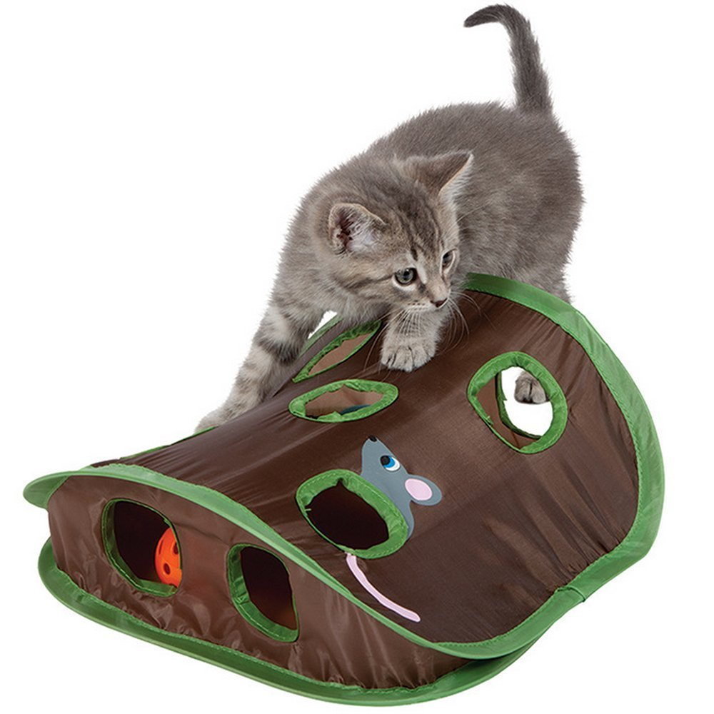 Cat Mice Toy Hide & Seek Game Pop-up Collapsible Puzzle Exercise Toy 9 Holes Mouse Hunt with Bell-ball Dolly Pet