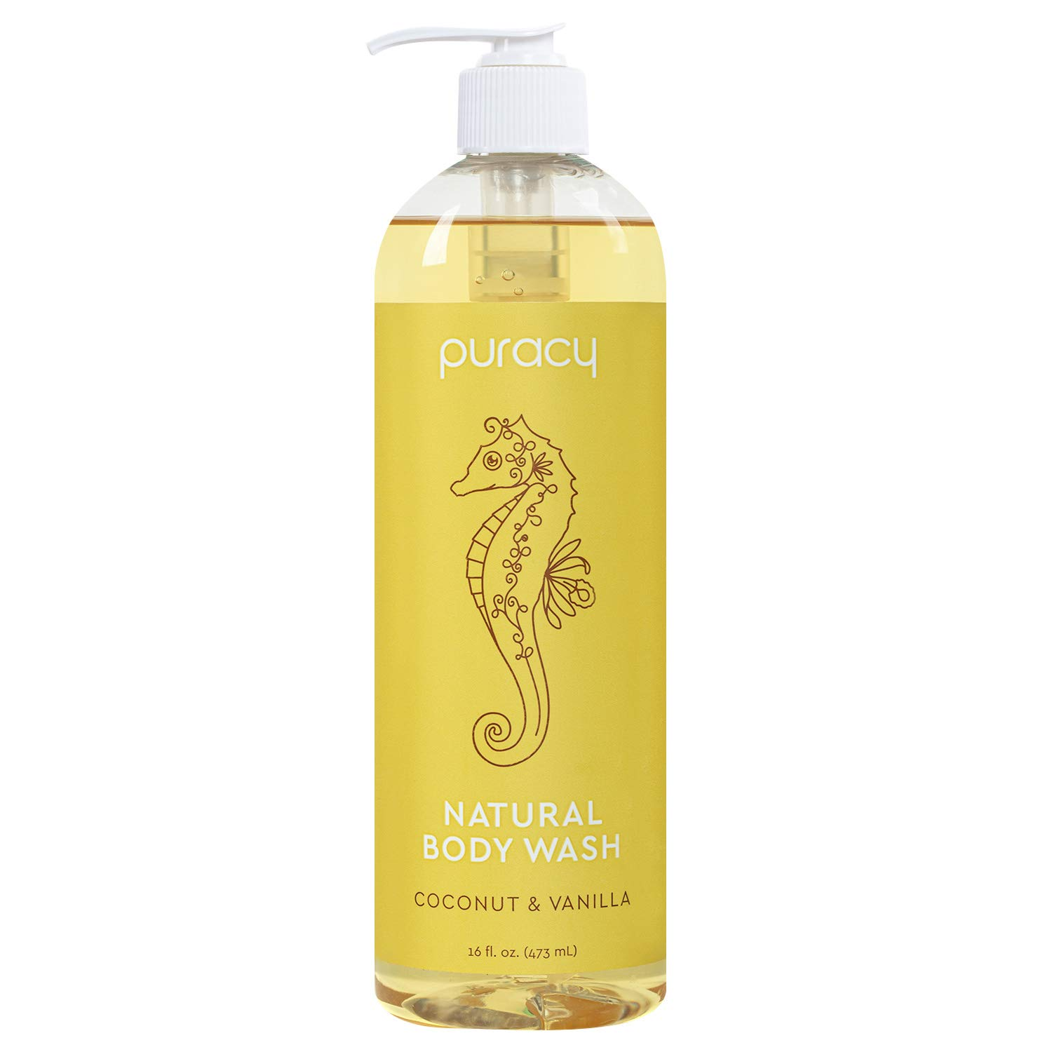Puracy Natural Body Wash, Sulfate-Free Bath and Shower Gel, Coconut & Vanilla, 16 Fl Oz (Pack of 1)