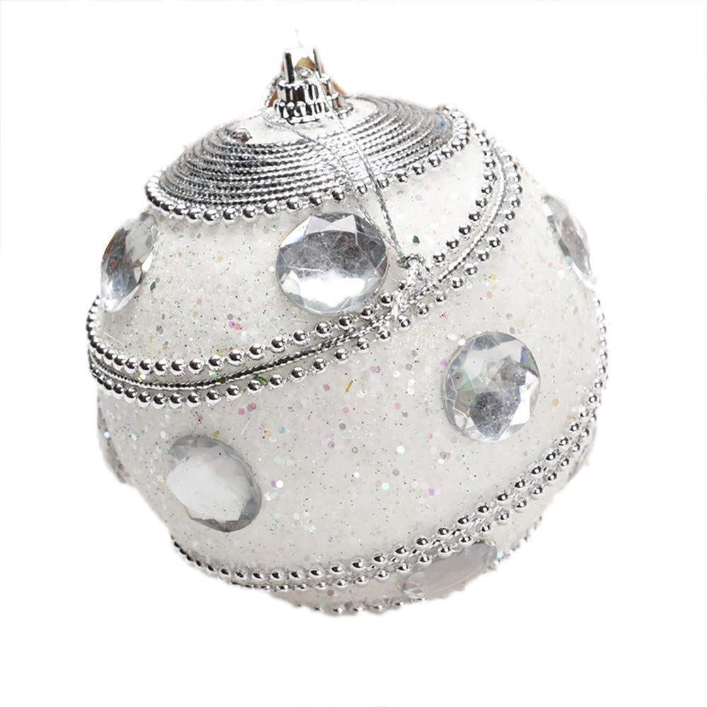 Christmas Ball Ornaments Decoration Christmas Rhinestone Glitter Baubles Balls Xmas Tree Ornament Decoration Holiday Wedding Party Decoration (8cm in Diameter) (White)