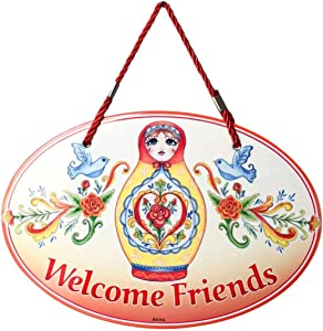 Essence of Europe Gifts E.H.G Welcome Friends Traditional Russian Nesting Doll Artwork Welcome 11x8 Ceramic Door Sign by E.H.G.