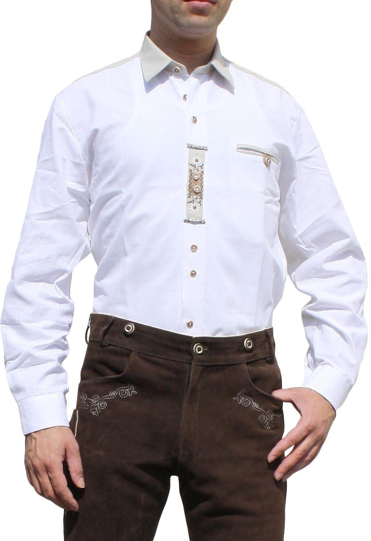 Trachtenhemd für Lederhosen Trachtenmode wiesn mit Verzierung weiß