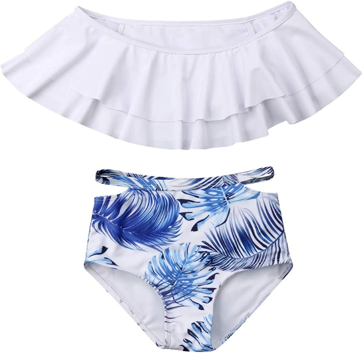 Mommy and Me Swimsuit Family Matching Palm Leaves Print Swimwear Parent Child Bathing Suit Swimming Bikini Trunks Set